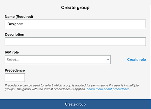 Creating a user group.