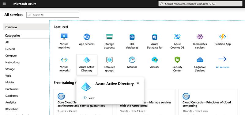 Choosing Azure Active Directory.