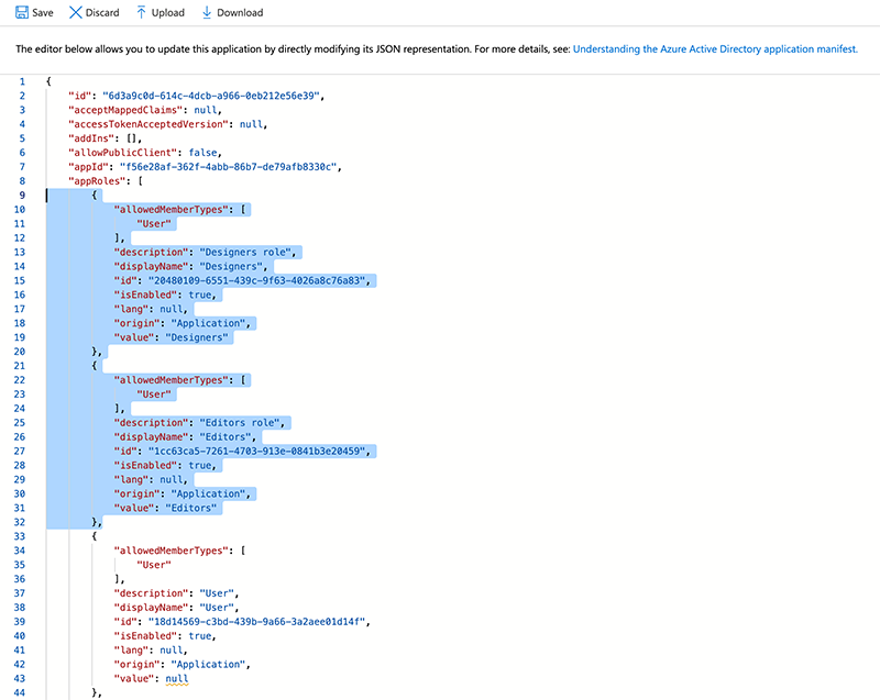 JSON added to the manifest.