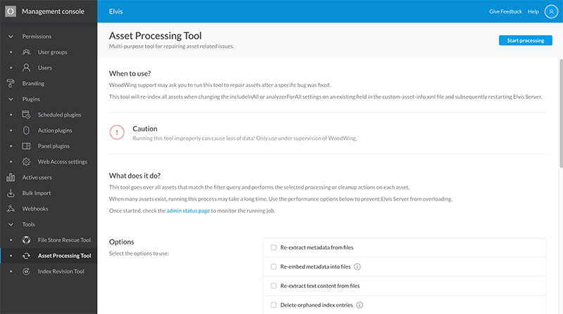 The Asset Processing tool