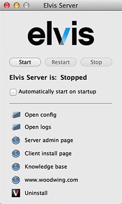 The panel for Elvis DAM 5 Server