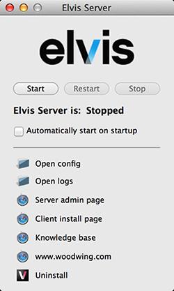 The panel for Elvis DAM 5 Server