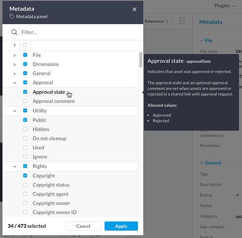Viewing the metadata description