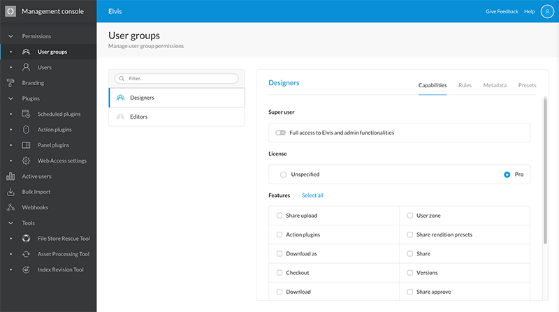 The User Groups page