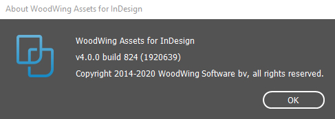 The About WoodWing Assets for InDesign dialog