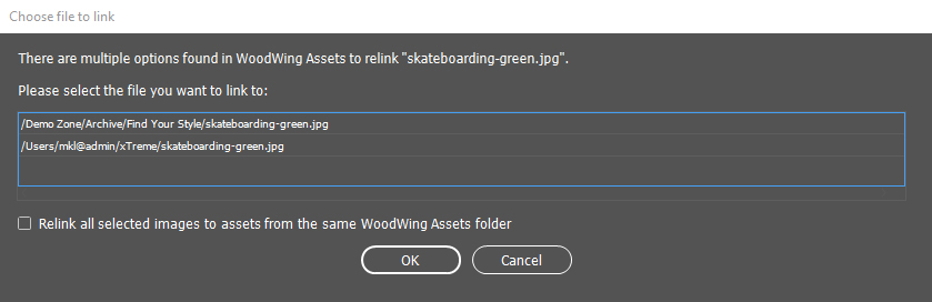 The dialog to choose the file to relink to