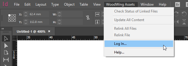 The Log In option in the WoodWing Assets menu
