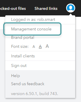 The Management Console option in the Avatar menu.