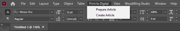 The Print to Digital menu in InDesign