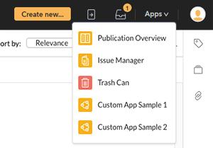 Custom apps in the Application menu