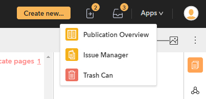 The Publication Overview in the Apps menu