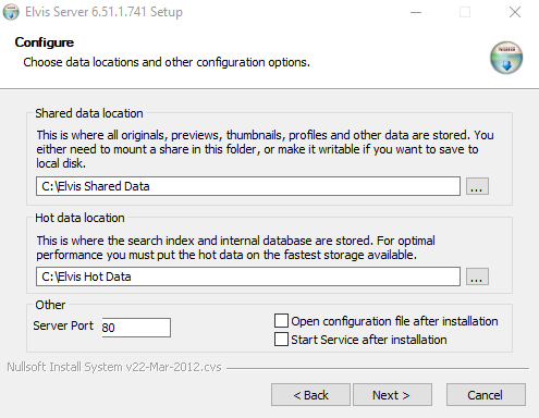 Setting the data locations on Windows