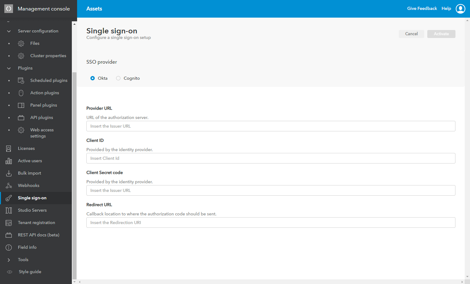 Setting up Okta on the Single Sign-on page