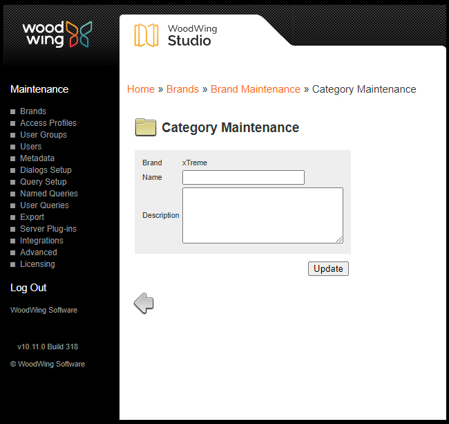 The Category Maintenance page
