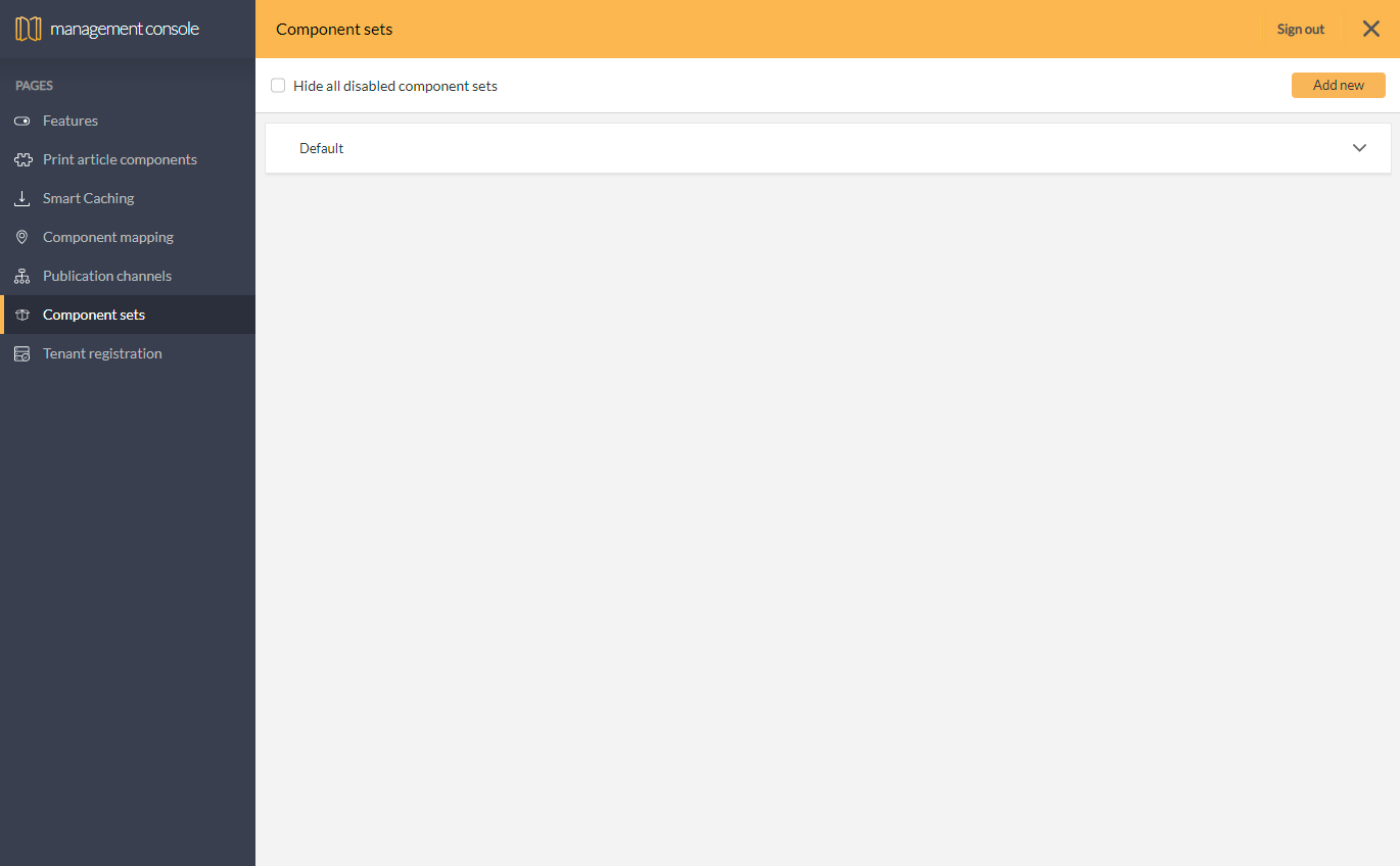 The Component Sets page