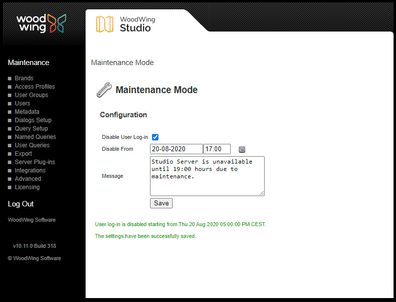 The Maintenance Mode page