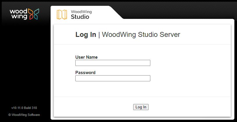 The Log In screen