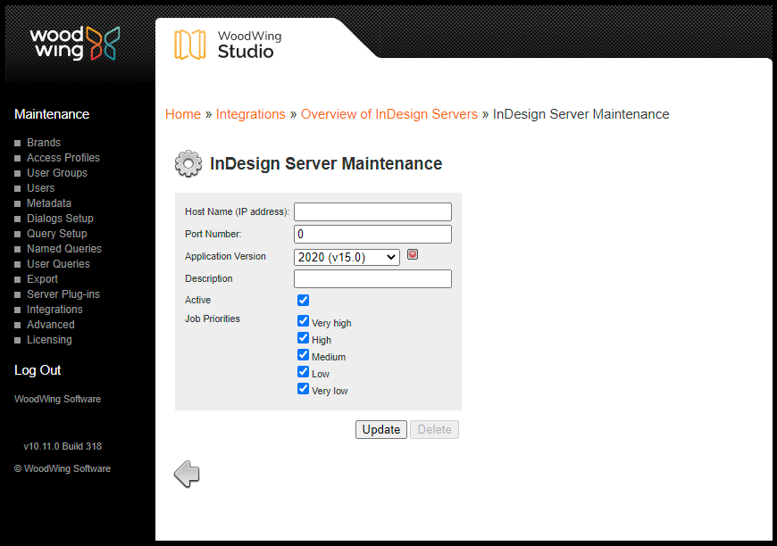 The InDesign Server Maintenance page