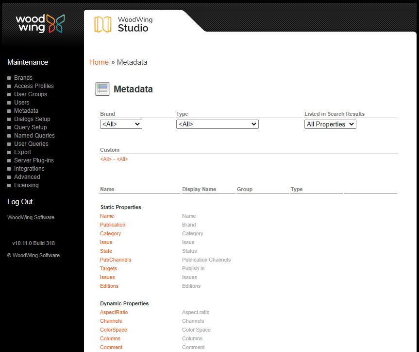 The Metadata page
