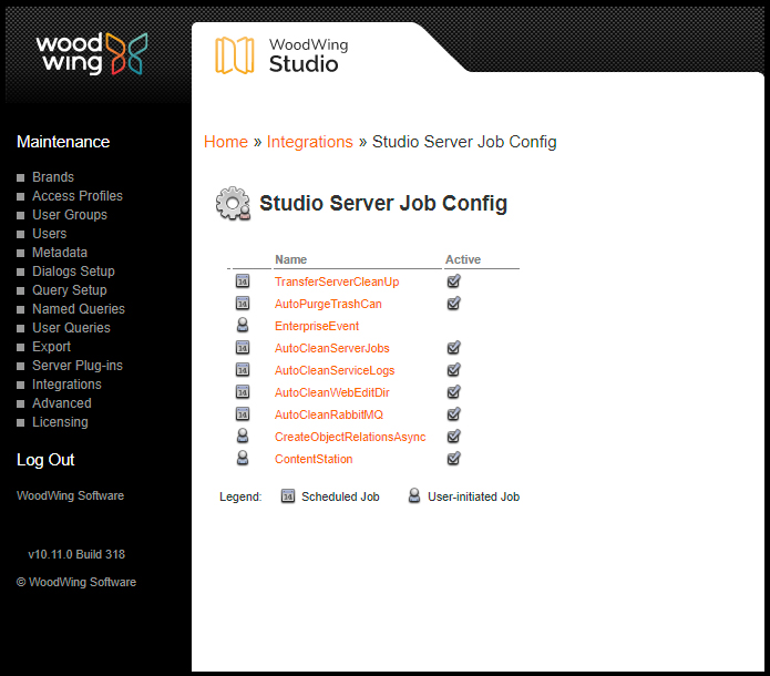 The Studio Server Job Config page