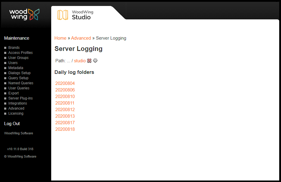 Daily server logging directories