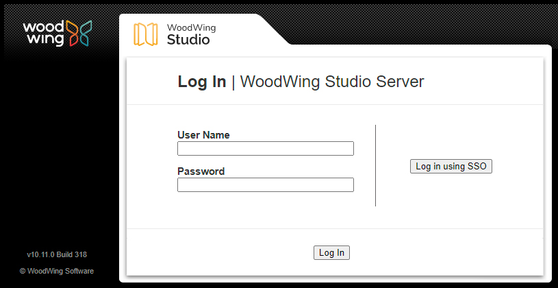 The Log In screen with the SSO option