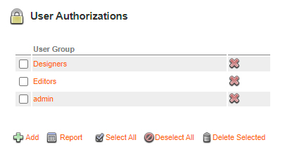 The User Authorization options