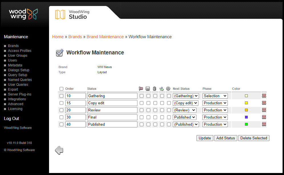 The Workflow Maintenance page set up for layouts