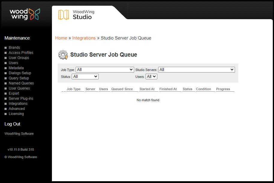 The Studio Server Job Queue page