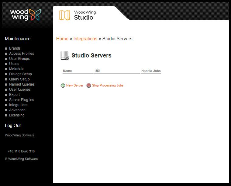 The Studio Servers page