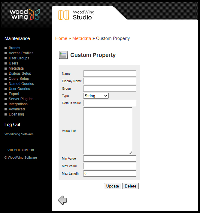 The Custom Property page