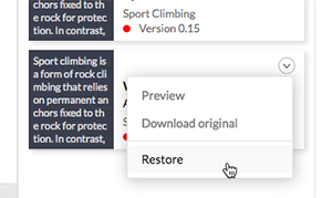 Restoring a file