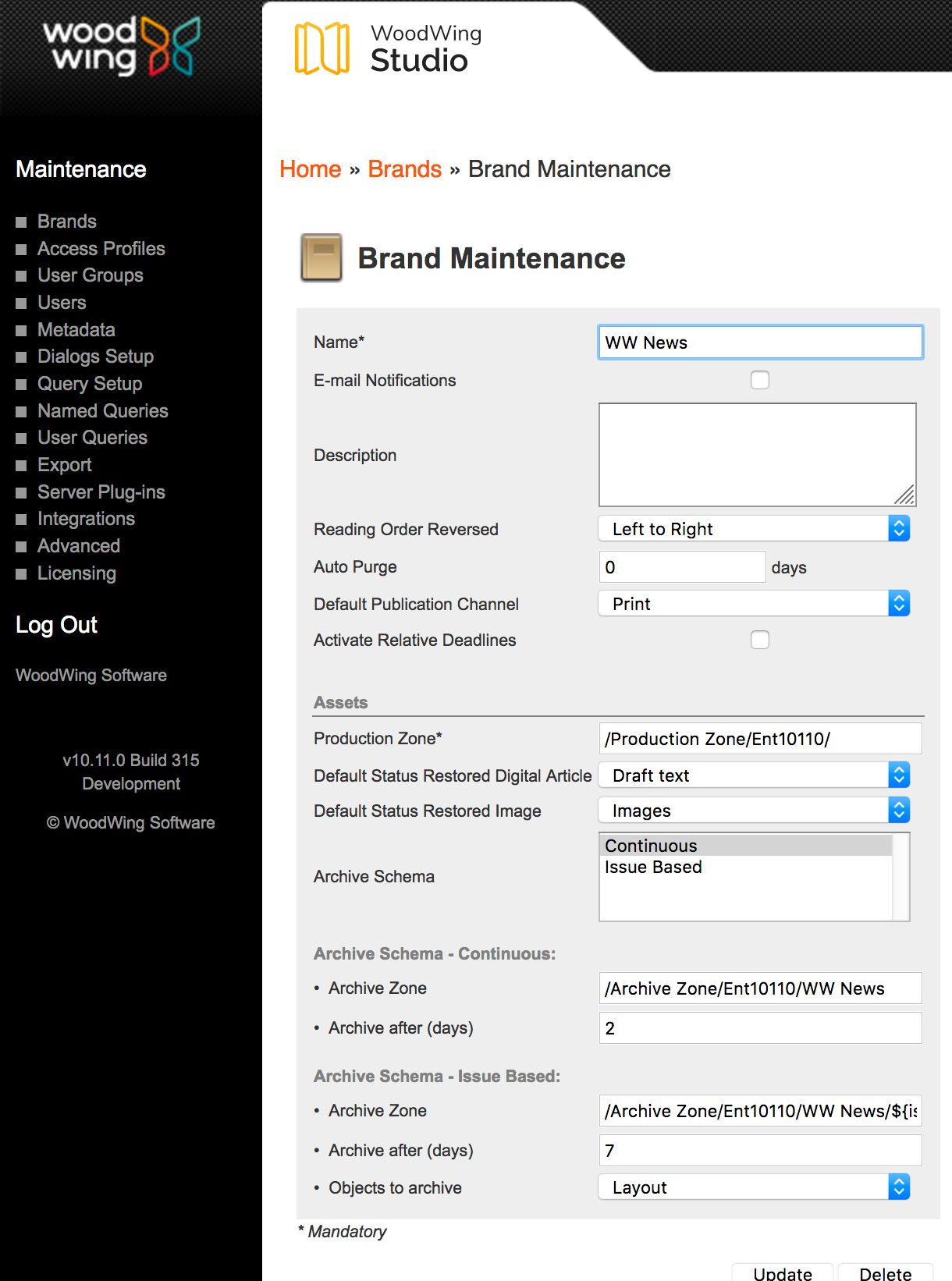The Archiving settings on the Brand Maintenance page