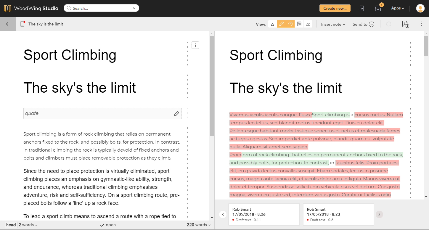 Comparing different versions of an article