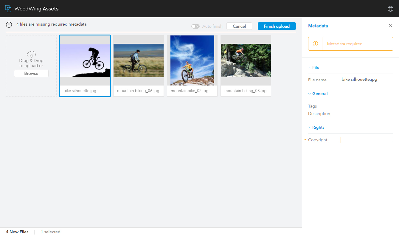 The Upload page