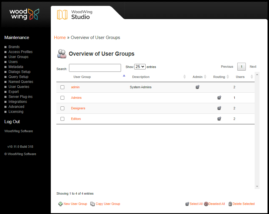 The Overview of User Groups Maintenance page
