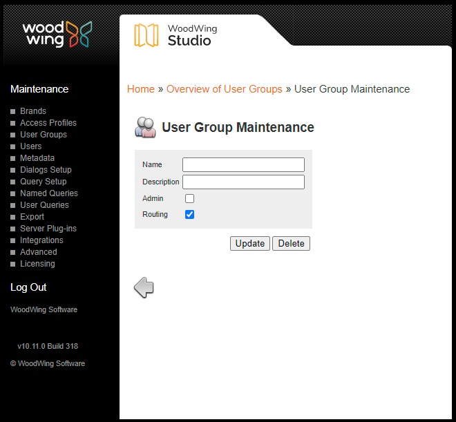 The User Group Maintenance page
