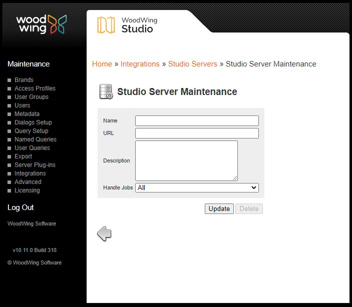 The Studio Server Maintenance page