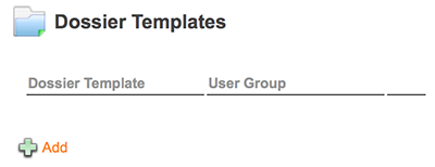 The Dossier Templates section on the Brand Maintenance page