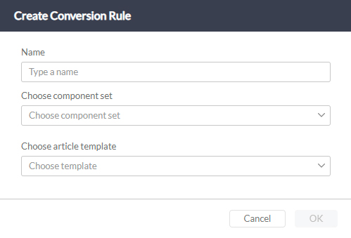 The Create Conversion Rule dialog