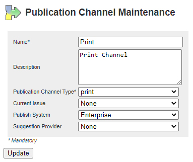 The settings for a Publication Channel of type Print