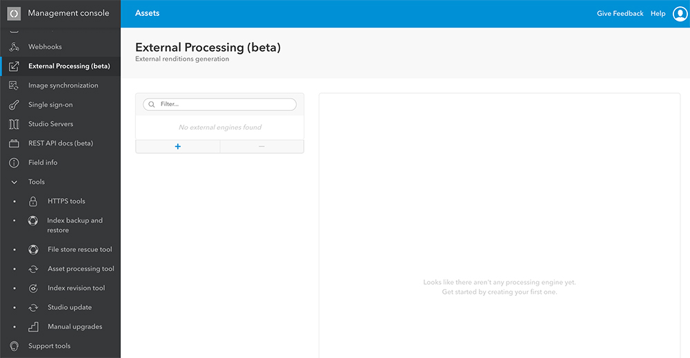The External processing engine page.