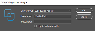 The Log In dialog for Assets Server