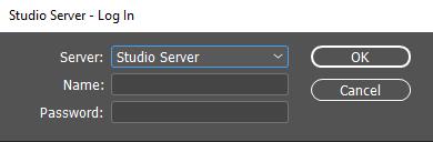 The Log In dialog for Studio Server