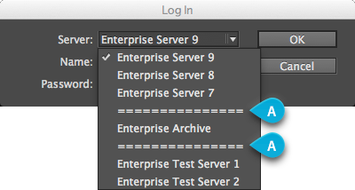 Separators in the Server list of the Log In window