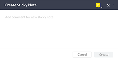 The Create Sticky Note window