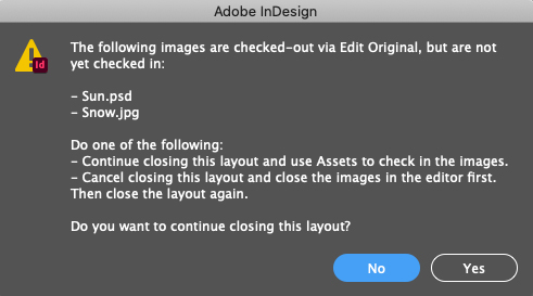 The message shown when closing a layout while images are still open for editing